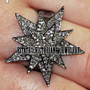 Vintage Style 3.65cts Genuine Old Mine Rose Cut Diamond Silver Star Ring Jewelry