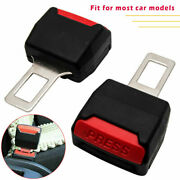 Universal Pair Car Safety Seat Belt Buckle Extension Extender Clip Alarm Stopper