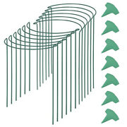 12 Packs 15.7 Inches Half Round Garden Plant Support Ring With 15 Pcs Plant L9j7