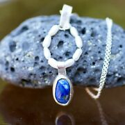 Natural Pearl Lapis Pendant Solid Sterling Silver Bezel 9th 13th Anniversary