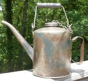 Vintage Eagle Railroad Steel Oil Can W/ Wooden Handle - Holds 1/2 Gal.