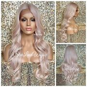 Lace Front Wig Light Pink Pastel Long Curly Layers Middle Part Swiss Heat Safe
