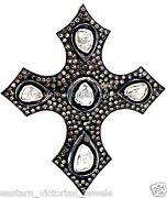 3.65cts Clear Real Rose Antique Cut Diamond Silver Vintage Cross Pendant Jewelry