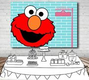 Elmo Sesame Street Blue Personalised Birthday Party Banner Backdrop Background