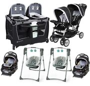 Baby Twin Double Stroller With 2 Car Seats Infant Combo Nursery Center 2 Swings