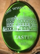 2007 Green Presidential White House Glass Easter Egg - Hand Made And Gold Etched
