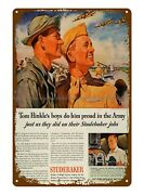 1944 Ad Studebaker Wright Cyclone Airplane Engine Wwii Military Tin Sign