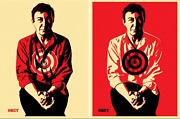 Set Of Shepard Fairey Jasper Johns Red And Yellow Prints Matching Print Numbers