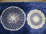 Set/2 Crocheted Doilies W/ Purple Seed Beads Worked In Stitches New Made In Usa