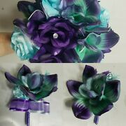 Turquoise Purple Rose Orchid Bridal Wedding Bouquet And Accessories