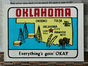 Original Vintage Travel Decal Oklahoma Everything's Goin' Okay Map Old Rv Truck