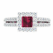 Round And Princess 1.49 Ct Diamond Natural Ruby Ring 14k White Gold Size 8 7 6 1/2