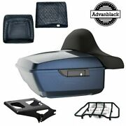 Midnight Blue King Tour Pack Pad Trunk Black Hinges And Latch For Harley 1997-2020