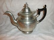 Rare Eben Smith Antique American Pewter Bulbous Form Footed Teapot Early 1800and039s