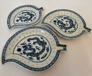 Antique Chinese Porcelain Plates Blue And White Dragons Rice Pattern