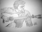 Guitars /jerry Reed/the Claw/ Guitar Man/amos Moses.lightning Rod/pencil Drawing