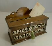 Antique English Oak And Brass Letters Box C.1890