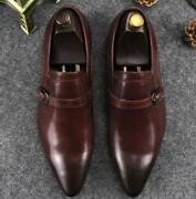 British Mens Real Leather Casual Business Dress Work Pointy Toe Loafers Shoes Sz