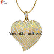 14k Gold Heart Pendant Pave Diamond Love Pendant Jewelry Womenand039s Necklace Gift