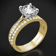 0.85ct Real Diamond Engagement Ring Brilliant Look Yellow Gold Rings Size 6 7 8