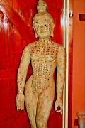 Large 5ft 19th Century Carved Wood/painted Chinese Acupuncture Statue, C 1890