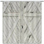 Rustic Barn Door Shower Curtain Gray And White Wooden Vintage Farmhouse Curtain