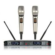 2 Handheld Karaoke Wireless Microphone System Professional Performance For Stage