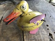 Antique Tin Wind Up Duck Toy Ichiyo A.i Toys Japan Rare Yellow Unique