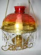 Antique Hanging Electrified Oil Lamp W Rare Hand Blown Amberina Thumbprint Shade