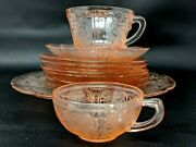 Jeanette Depression Glass 1930-1939 Cherry Blossom Pink 10 Pieces Dishware