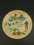 Vtg Bamboo Jamaica Serving Tray Art Souvenir Mid Century 8andrdquo Round Weed Marley