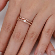 0.78 Ct Round Solitaire Diamond Wedding Rings 14k Rose Gold Band Set Size 5 6 7