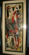 Abstract Red And Black Painting Signed Reverse Sally Stefflre Jackson Pollock
