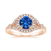 1.60 Ct Diamond Real Blue Sapphire Ring Solid 14k Rose Gold Size 8 7