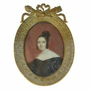 Miniature On Ivory By Louis Franandccedilois Aubry Portrait Of Woman In Black With Di...