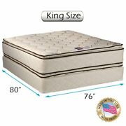 Dream Sleep Coil Comfort Pillow Top King Mattress And Box Spring Set 2-sided...