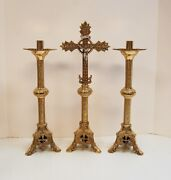 Pair Of Traditional 14 Brass Church Altar Candlesticks With Altar Cross 162-14