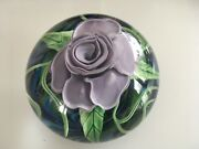 Large Lundberg Studios Art Glass Silver Rose Limited Ed Paperweight 2006