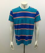 Kolby Menand039s Large Cotton Crew Neck Blue / Orange Stripe Short Sleeve T Shirt
