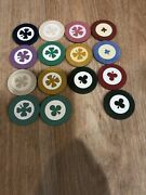 Aw Vintage 18 Clay Poker Chips Inlaid Clover Leaf Shamrock Club Green Red White