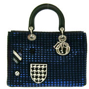 Christian Dior Leather Lady Dior Blue Cannage Patchwork Tote Bag