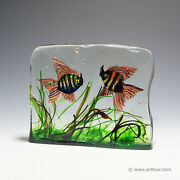 A Very Large Cenedese Aquarium With Two Fishes 6.15 Kg Ca. 1960
