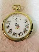 Mickey And Co. Pocket Watch Gold Swiss Musical March Disney Wooden Box Used