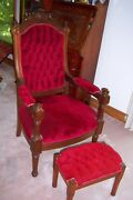 Beautiful Antique Victorian Chair With Foot Stool, Excellent Condition Rare
