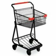 Single Basket Mini Shopping Cart Black Frame With Red Handle