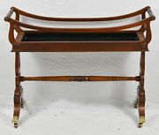 Baker Furniture Mahogany Wine Cart Planter With Brass Paw Feet Casters
