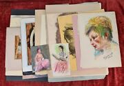 Collection Of 34 Drawings And Paintings. Several Authors. Twentieth Century.