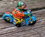 Antique Hk Clown Tin Toy Wind-up Motorcycle 561 W/outriggers 100orig Works