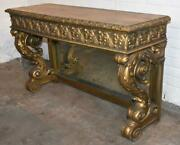Antique Carved Mirrored Entry Console Table