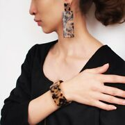 Celluloid Gold Brown Leopard Animal Cuff Bracelet And Earrings Set Rocks Boutique